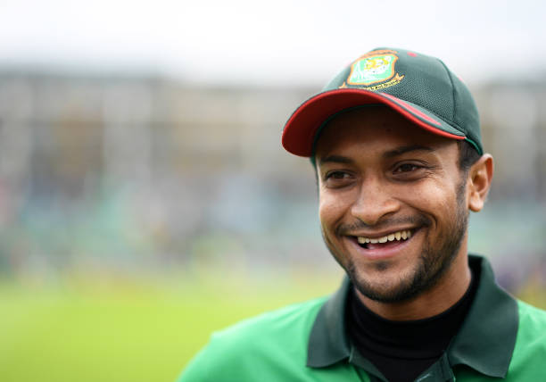 TAUNTON-ENGLAND-JUNE-17-Shakib-Al-Hasan-of-Bangladesh-looks-on-during-the-Group-Stage-match-of-the-I