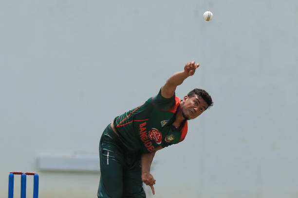 Taskin-Ahmed-delivers-a-ball-during-the-tour-match-between-Sri-Lanka-Board-Pres