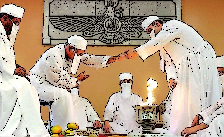 Imagen vectorizada de un ritual zoroástrico