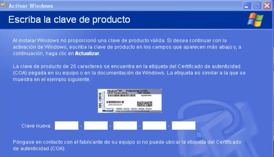 Introduce la clave para proceder a activar Windows XP.