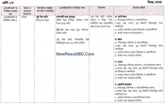 Class 8 Bangla 9th Week Assignment Question