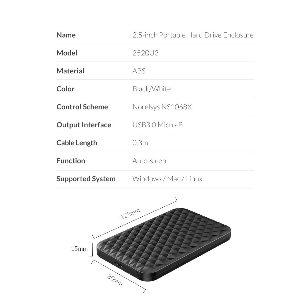 Orico 2 5 Inch Hdd Ssd Case Sata To Usb 3 0 Hard Drive