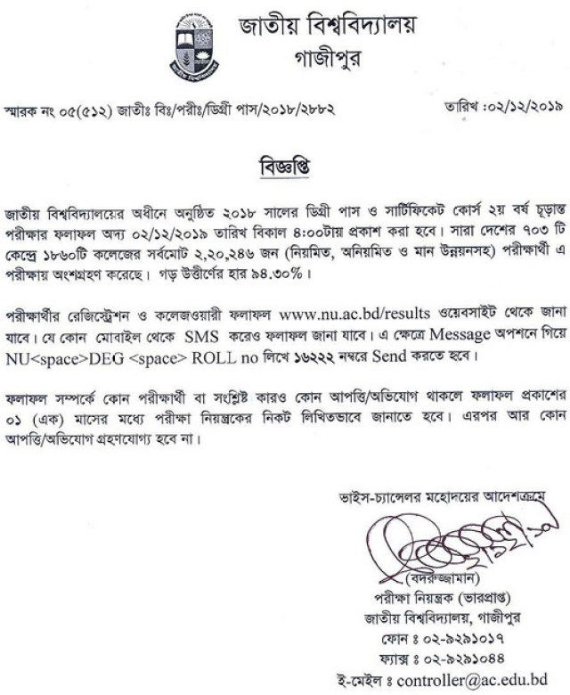 Degree 2nd Year Result Notice