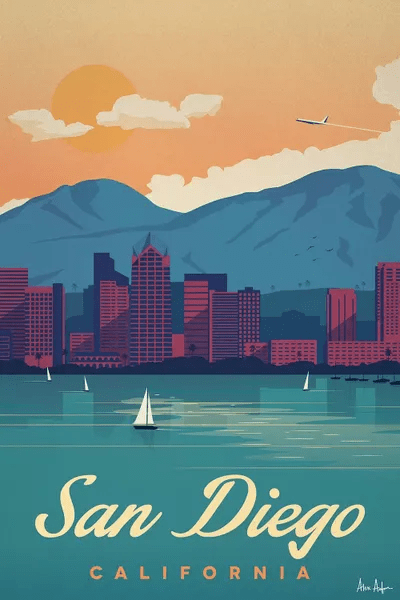 san diego travel posters canvas wall