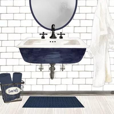 farmhouse bath ii navy sink canvas artwork by tara reed icanvas