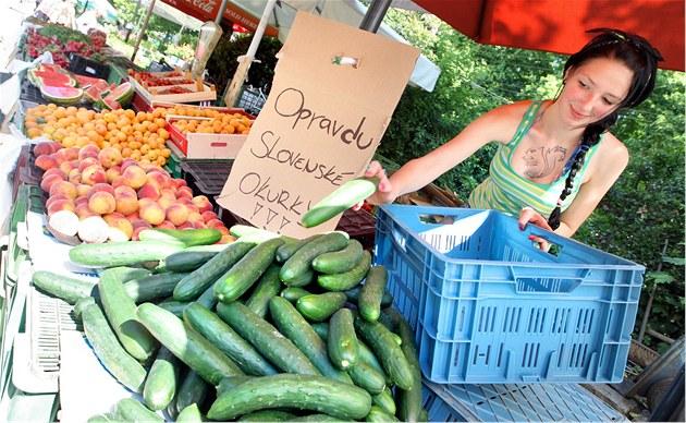 Zuzana Kytlicová Slovak sells cucumbers at the market in Zlín.  (30 May 2011)
