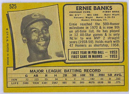 Ernie Banks - 1971 OPC baseball back