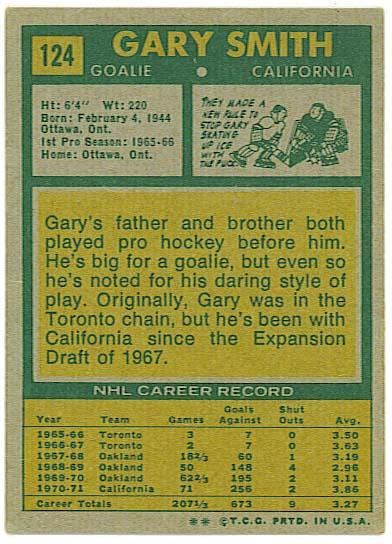 Gary Smith - 1971-72 Topps back