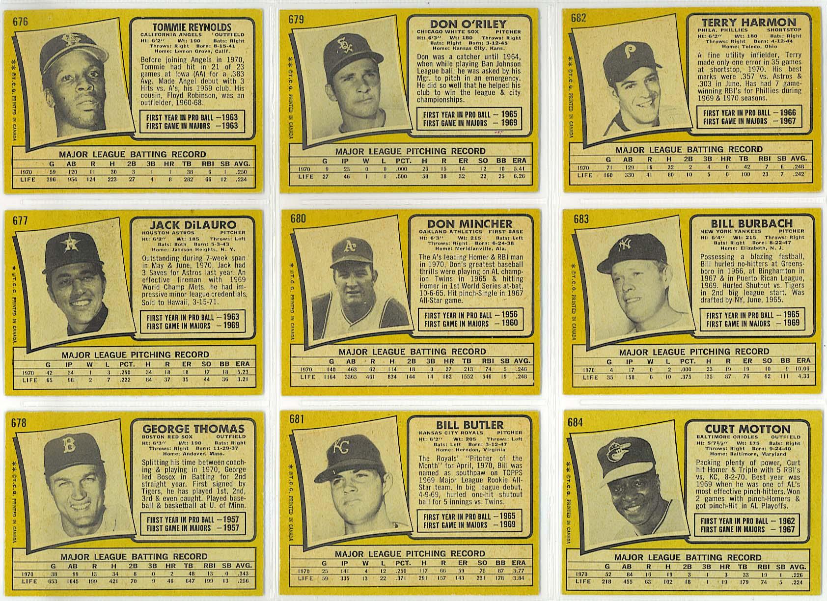1971 OPC baseball - cards 676-684 backs