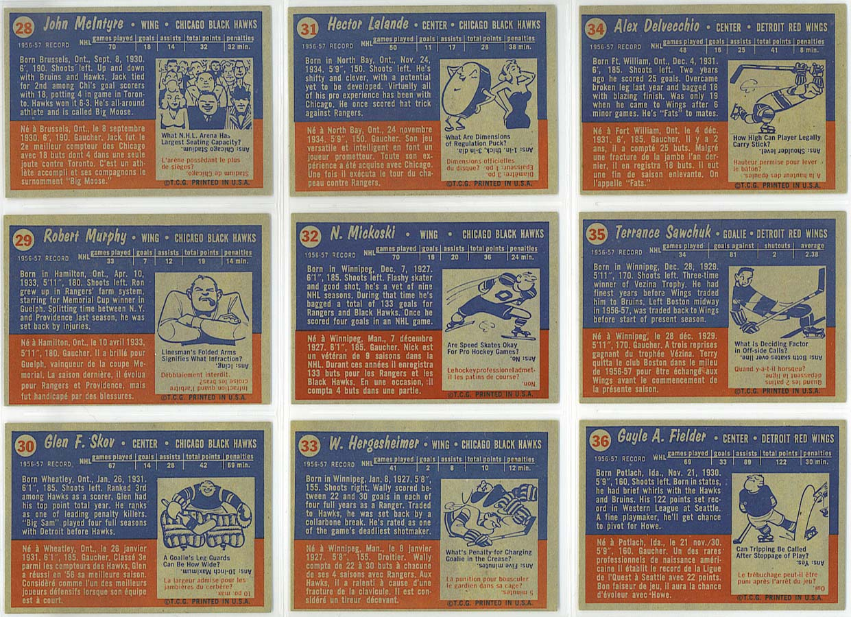 1957-58 Topps Hockey - cards 28-36 backs