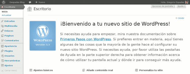 WordPress 3.3 - Pantalla de Bienvenida