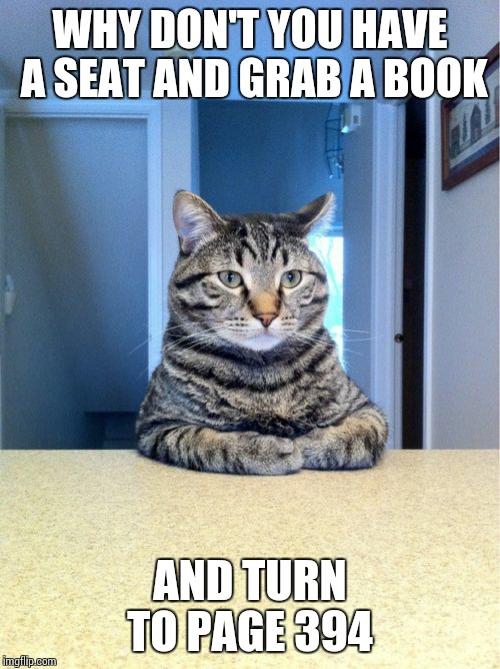 Take A Seat Cat Meme Imgflip