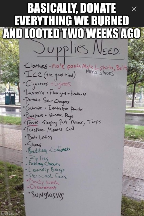 politics chaz list of necessities Memes & GIFs - Imgflip