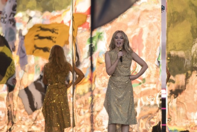 Australian singer Kylie Minogue performs at the Glastonbury Festival of Music and Performing Arts on Worthy Farm near the village of Pilton in Somerset, South West England, on June 30, 2019. (Photo by OLI SCARFF / AFP) (Photo credit should read OLI SCARFF/AFP via Getty Images)