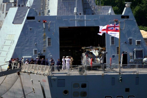 ODESSA, UKRAINE JUNE 18, 2021: The British Royal Navys destroyer HMS Defender in the port of Odessa on Ukraines Black Sea coast. Konstantin Sazonchik/TASS (Photo by Konstantin Sazonchik\TASS via Getty Images)