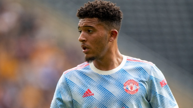 WOLVERHAMPTON, ENGLAND - AUGUST 29: Jadon Sancho of Manchester United looks on during the Premier League match between Wolverhampton Wanderers and Manchester United at Molineux on August 29, 2021 in Wolverhampton, England. (Photo by Sebastian Frej/MB Media/Getty Images)