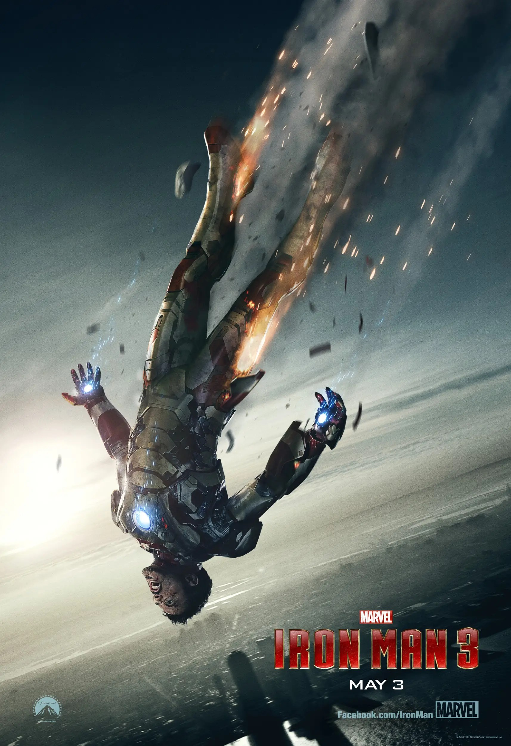 iron man falling to earth poster