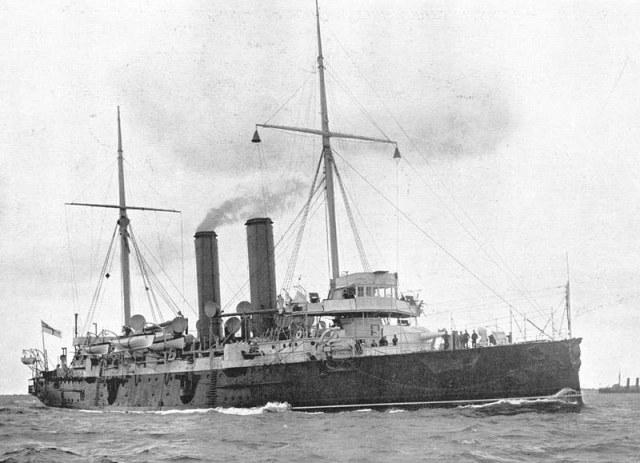 """HMS """"St. George"""" w drodze do Zanzibaru, rok 1896 /Wikimedia Commons /materiały prasowe"""