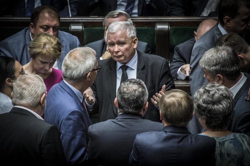 Prezes Prawa i Sprawiedliwości Jarosław Kaczyński w Sejmie /Fot. Jacek Domiński /Reporter