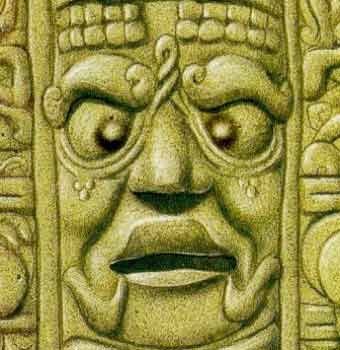 The Mayans let the objects dangle before the eyes of the newborn to bring the two pupils' pupils to a point (squinting) permanently.