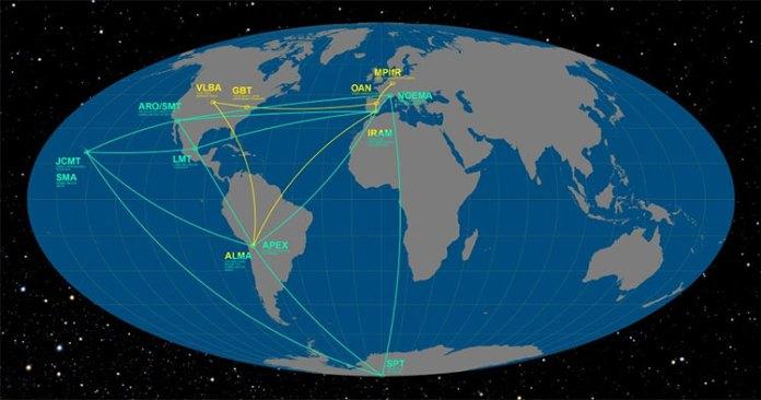 Các đài quan sát trên khắp thế giới thuộc dự án Kính thiên văn Chân trời Sự kiện.