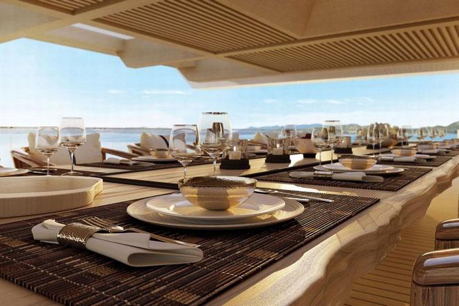 Các hành khách có thể tận hưởng không gian ăn uống sang trọng.