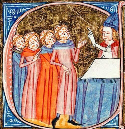 """Tác phẩm """"Omne Bonum"""" của James le Palmer, mô tả các giáo sĩ mắc bệnh phong ở thế kỷ 14"""