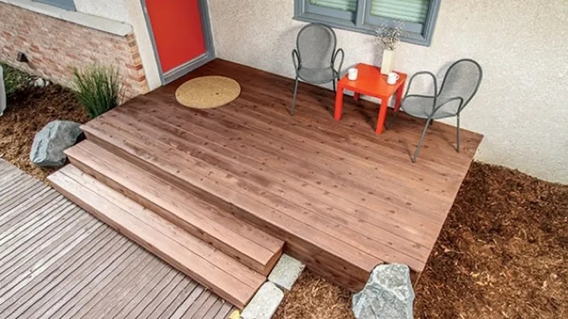 Build A Front Deck Over Your Concrete Stairs For Added Curb Appeal   Building Wood Steps Over Concrete   Stoop   Existing Concrete Porch   Concrete Slab   Front Porch   Composite Decking