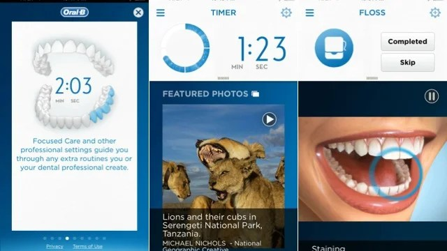Screenshots from the Oral-B SmartSeries 7000 companion app.