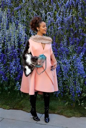Rihanna Looks Pretty in Pink at Dior's Paris Show