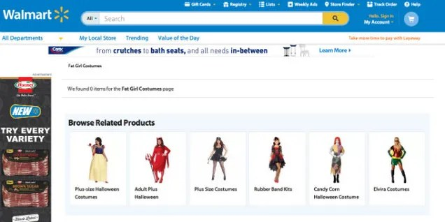 Walmart's Website Features a Section of 'Fat Girl Costumes'