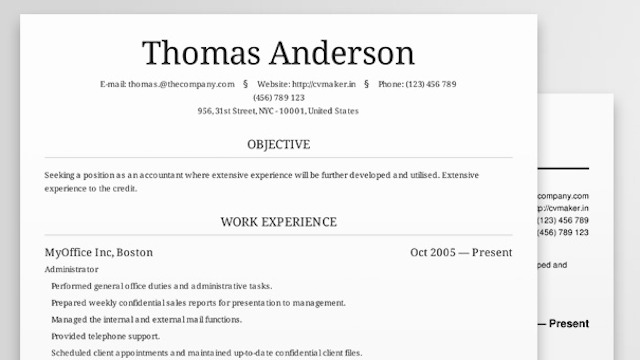 resume builder best free aada