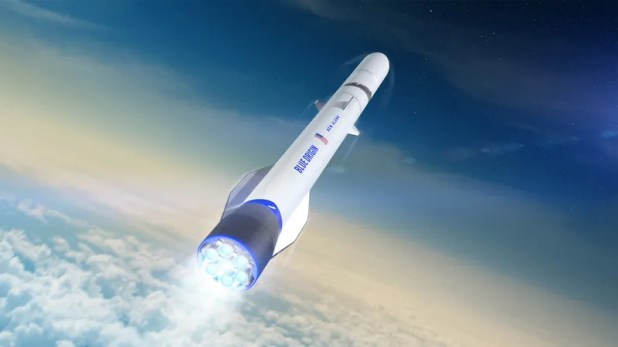 Cloud Computing: Artist's depiction of Unusual Glenn, a rocket currently being developed by the Jeff Bezos-led aerospace firm Blue Foundation.