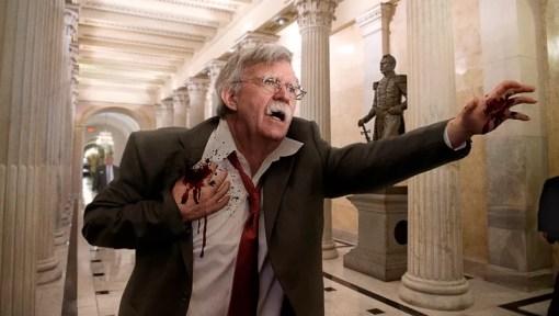 Bildergebnis für Bleeding John Bolton Stumbles Into Capitol Building Claiming That Iran Shot Him