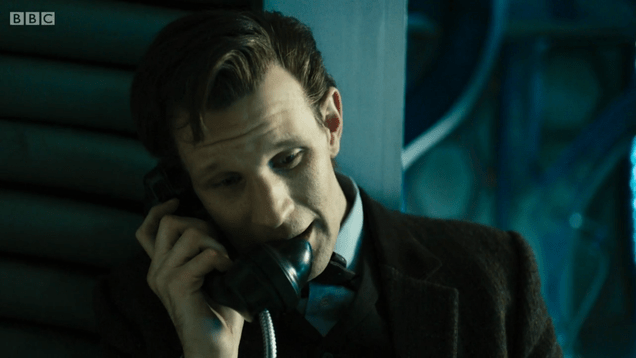 The 11th Doctor talking on the telephone.