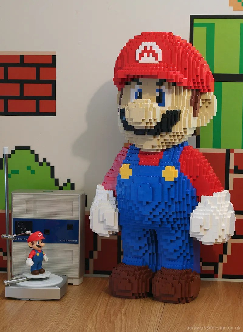 Awesome Lego Mario Model Built Using NextEngine 3D Scanner A Lego and 3D fanatic took a small Mario figurine  scanned it into a  computer using the NextEngine 3D Scanner and used the data to create a  near perfect