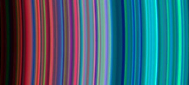 Colorful view of Saturn's rings