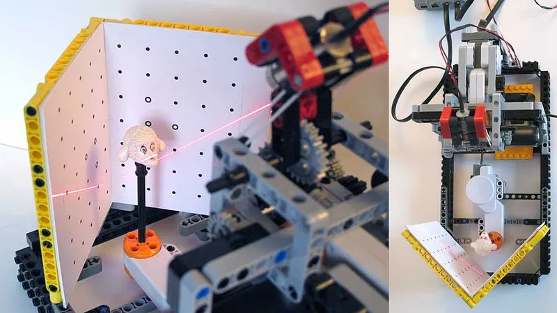 Lego Laser 3D Scanner Scans Lego Pieces to Make More Lego There s no limit  no limit I tell you  to the power of Lego  This is a  do it your self 3D laser scanner made of Lego used to scan Lego pieces to  use it in