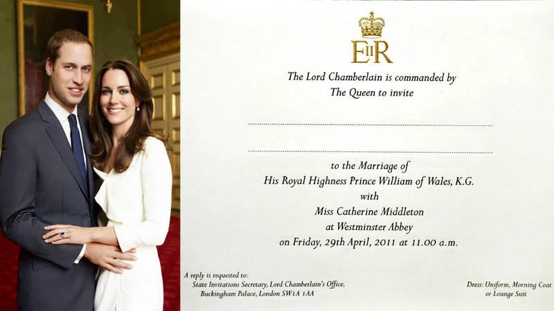The 1 800 Invitations To Prince William And Kate Middleton S Wedding Have Been Delivered Couple Opted For Formal Stationary Foregoing