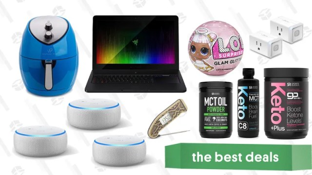 Illustration for article titled Satuday's Best Deals: Echo Dots, Razer Blade Pro, TP-Link Smart Plugs, J.Crew Factory, and More