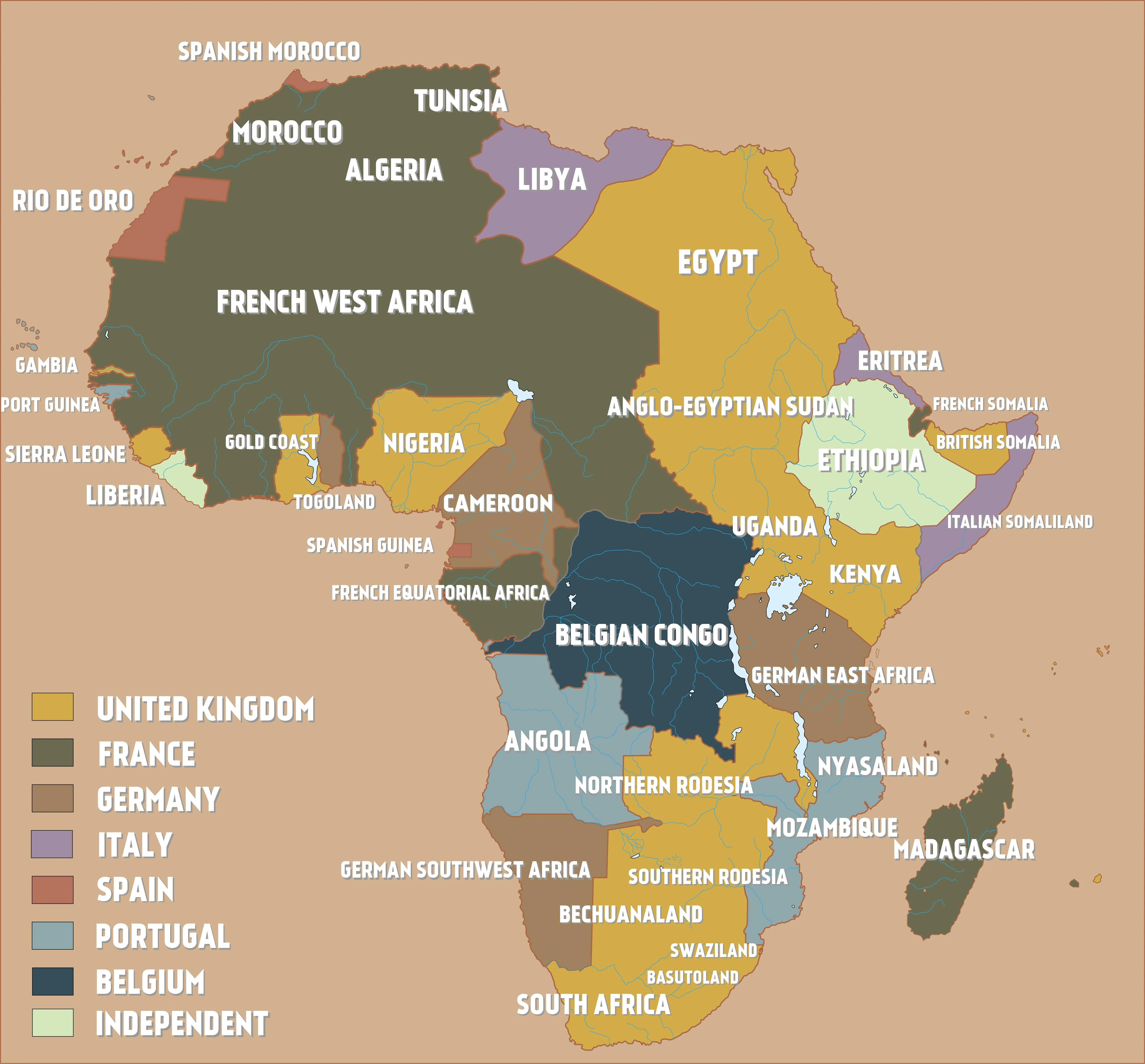 A Map Of Colonial Africa Just Before The Outbreak Of World