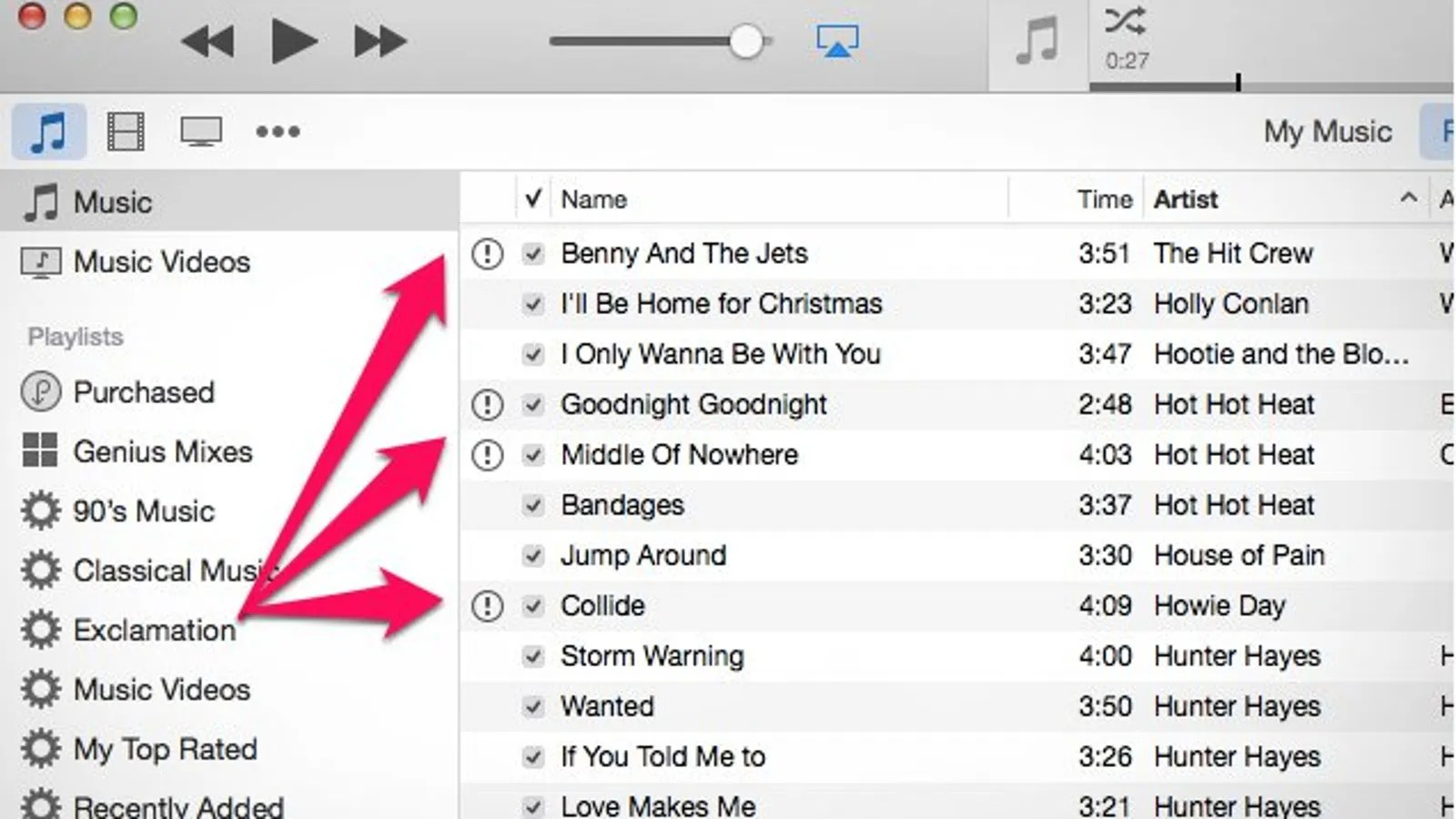 Find And Sort The Missing Exclamation Point Tracks In Itunes