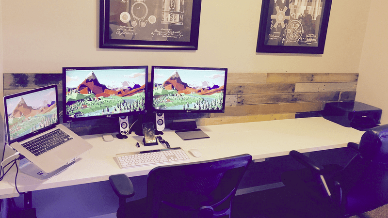 The Pallet Wall Workspace for Two