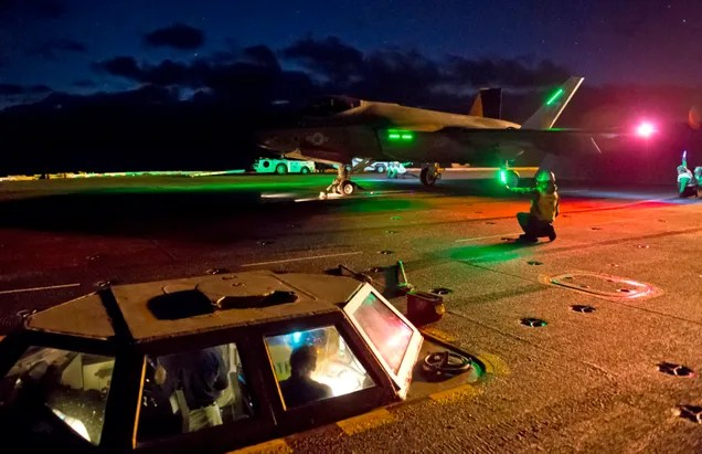 Watch The F-35C Operate From An Aircraft Carrier In The Dark Of Night