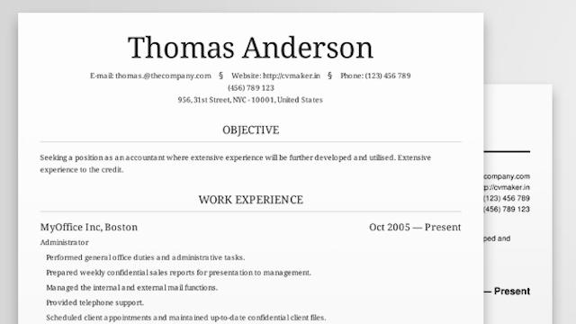 cv maker creates beautiful professional looking resumes online in