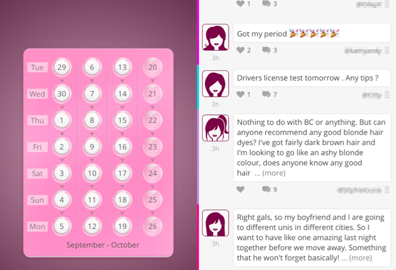 myPill period tracker screen shot