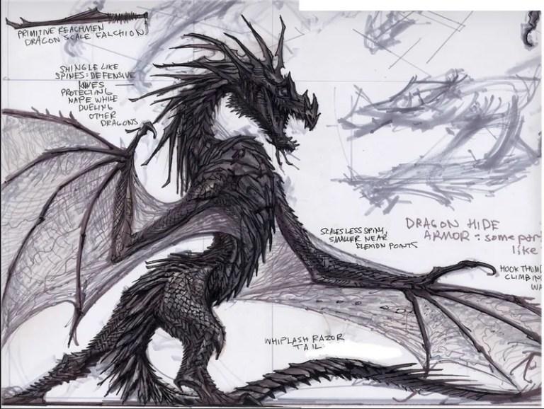 skyrim dragon concept art