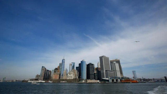 A view of the Lower Manhattan skyline from the Staten Island Ferry, March 14, 2019 in New York City.