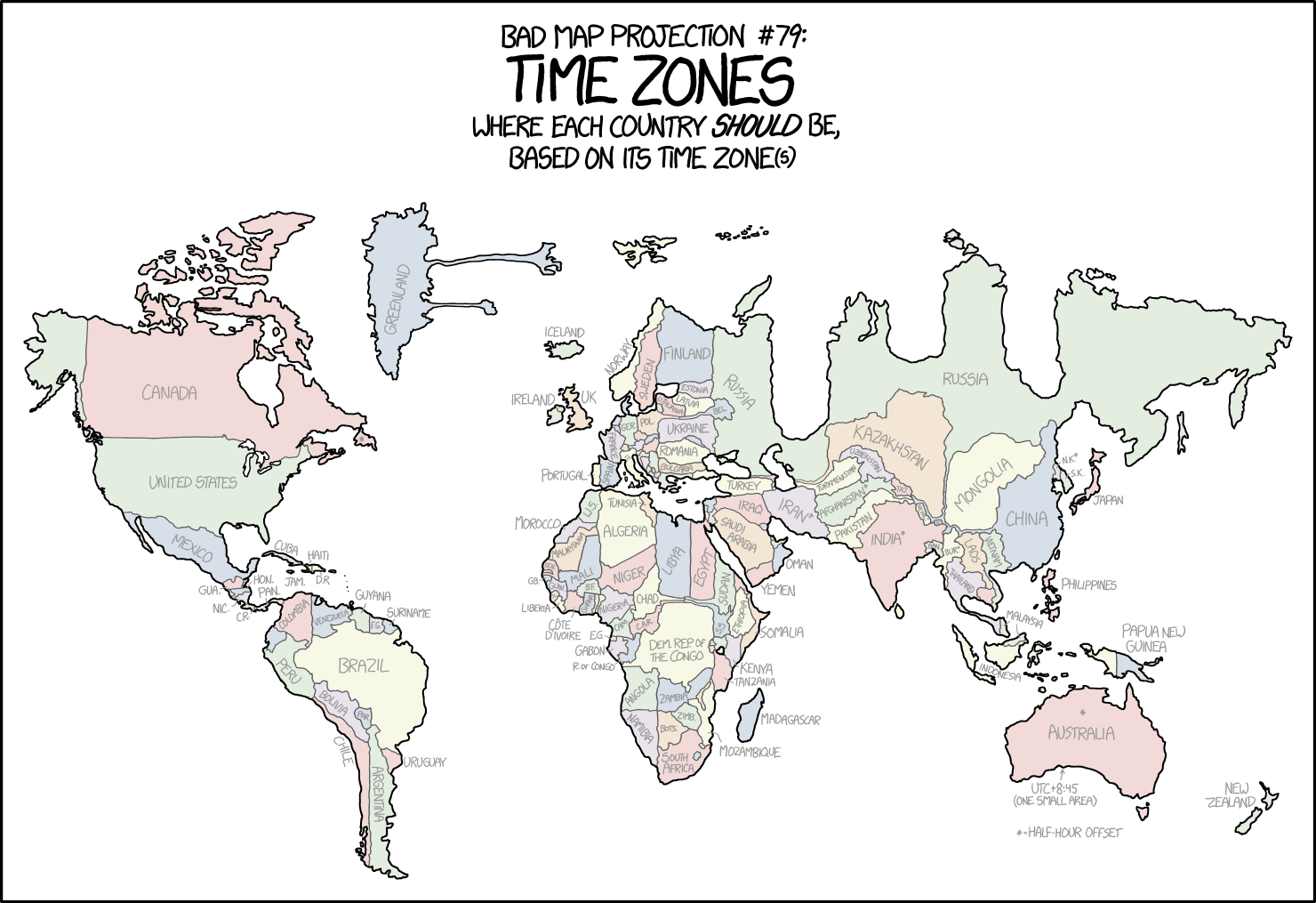 Distorted Map Shows Each Country Forced Into Its Time Zone