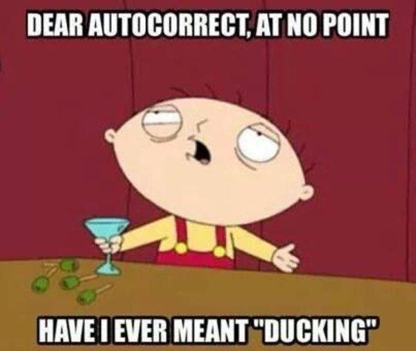 When Autocorrect Changes Fucking To Ducking Autocorrect Meme On